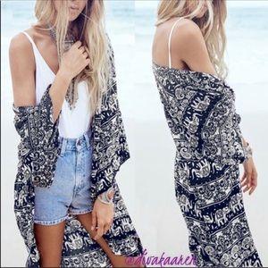 Other - Trendy Boho Black & White Kimono Coverup Swim